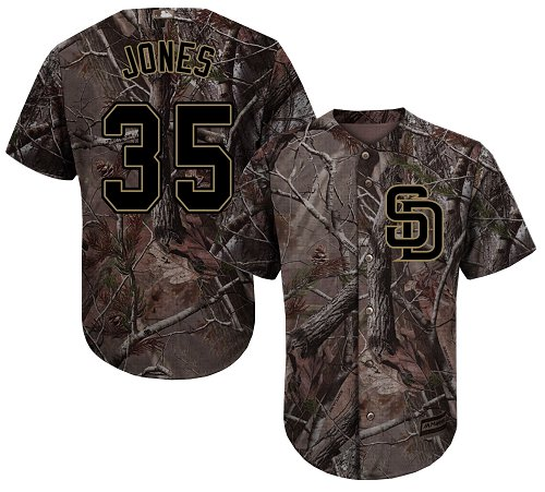 Men's Majestic San Diego Padres #35 Randy Jones Authentic Camo Realtree Collection Flex Base MLB Jersey