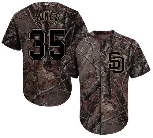 Men's Majestic San Diego Padres #35 Randy Jones Authentic Camo Realtree Collection Flex Base MLB Jersey