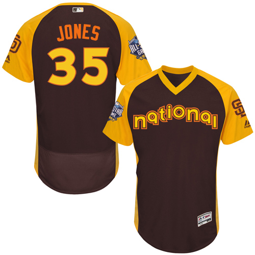Men's Majestic San Diego Padres #35 Randy Jones Brown 2016 All-Star National League BP Authentic Collection Flex Base MLB Jersey