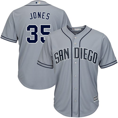 Men's Majestic San Diego Padres #35 Randy Jones Replica Grey Road Cool Base MLB Jersey