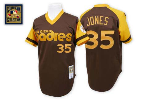 Men's Mitchell and Ness San Diego Padres #35 Randy Jones Replica Brown Throwback MLB Jersey