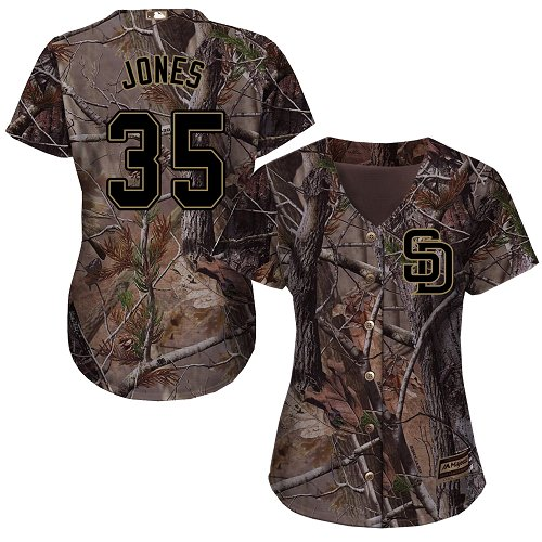 Women's Majestic San Diego Padres #35 Randy Jones Authentic Camo Realtree Collection Flex Base MLB Jersey