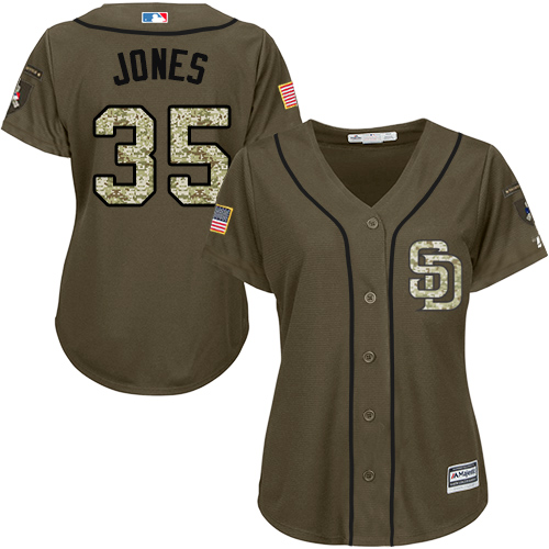 Women's Majestic San Diego Padres #35 Randy Jones Authentic Green Salute to Service Cool Base MLB Jersey