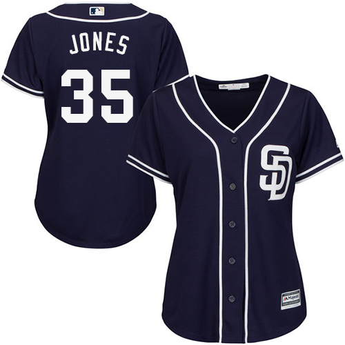 Women's Majestic San Diego Padres #35 Randy Jones Authentic Navy Blue Alternate 1 Cool Base MLB Jersey