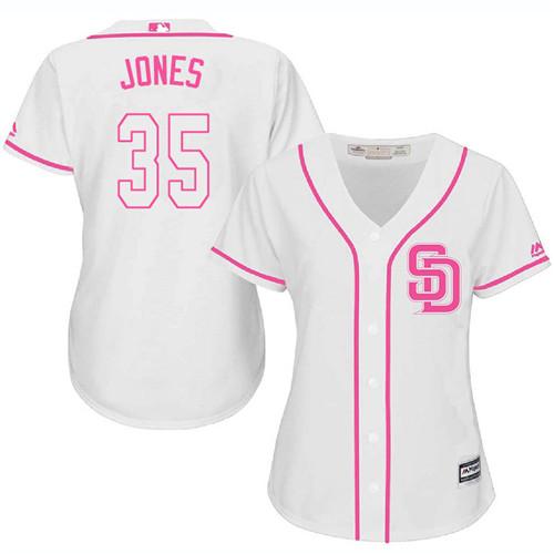 Women's Majestic San Diego Padres #35 Randy Jones Authentic White Fashion Cool Base MLB Jersey