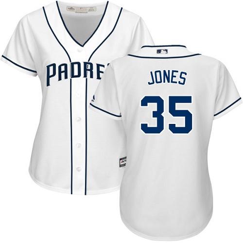 Women's Majestic San Diego Padres #35 Randy Jones Replica White Home Cool Base MLB Jersey