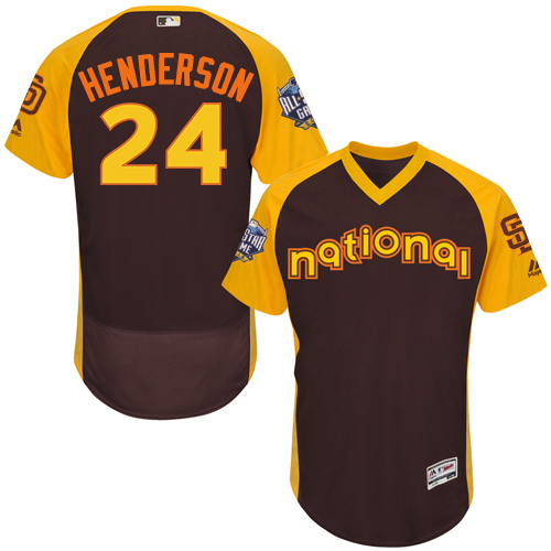 Men's Majestic San Diego Padres #24 Rickey Henderson Brown 2016 All-Star National League BP Authentic Collection Flex Base MLB Jersey