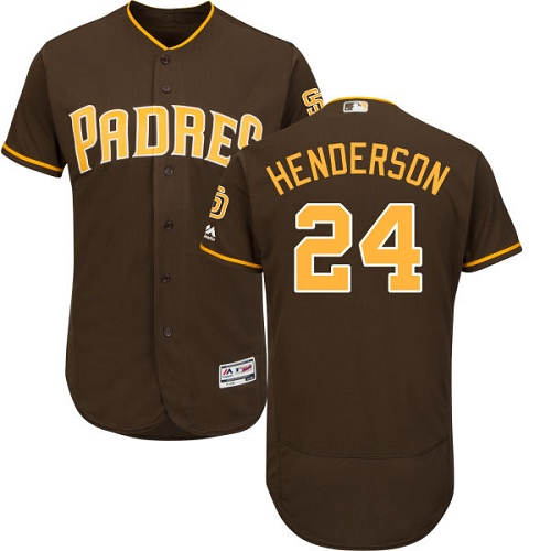Men's Majestic San Diego Padres #24 Rickey Henderson Brown Alternate Flex Base Authentic Collection MLB Jersey