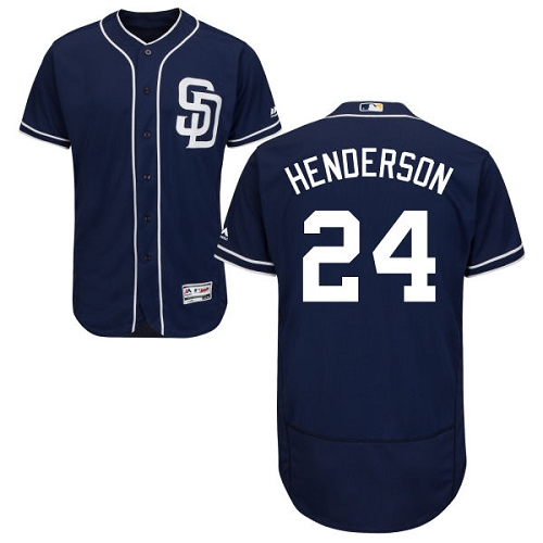 Men's Majestic San Diego Padres #24 Rickey Henderson Navy Blue Alternate Flex Base Authentic Collection MLB Jersey