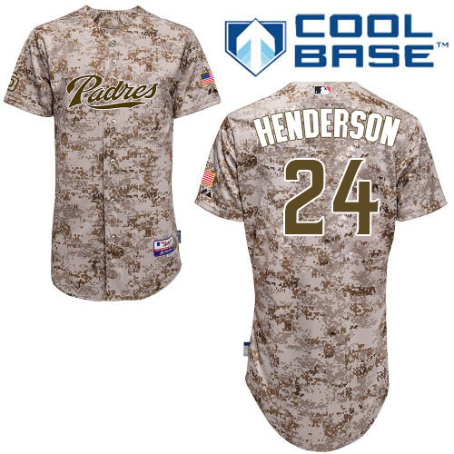 Men s Majestic San Diego Padres  24 Rickey Henderson Authentic Camo  Alternate 2 Cool Base MLB 00d67a90b