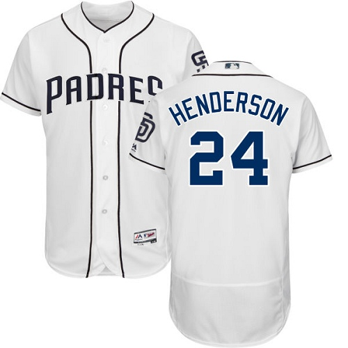 Men's Majestic San Diego Padres #24 Rickey Henderson White Home Flex Base Authentic Collection MLB Jersey