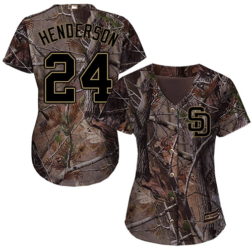 Women's Majestic San Diego Padres #24 Rickey Henderson Authentic Camo Realtree Collection Flex Base MLB Jersey