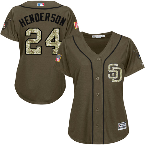 Women's Majestic San Diego Padres #24 Rickey Henderson Authentic Green Salute to Service Cool Base MLB Jersey
