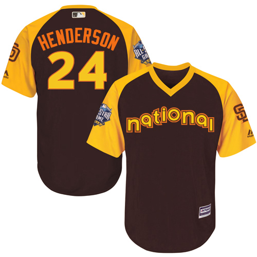 Youth Majestic San Diego Padres #24 Rickey Henderson Authentic Brown 2016 All-Star National League BP Cool Base Cool Base MLB Jersey