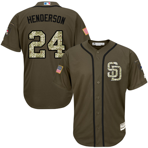 Youth Majestic San Diego Padres #24 Rickey Henderson Authentic Green Salute to Service Cool Base MLB Jersey