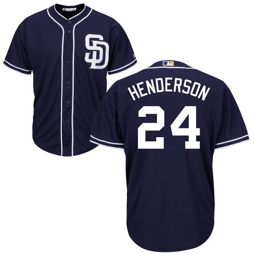 Youth Majestic San Diego Padres #24 Rickey Henderson Authentic Navy Blue Alternate 1 Cool Base MLB Jersey