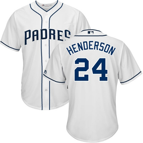 Youth Majestic San Diego Padres #24 Rickey Henderson Authentic White Home Cool Base MLB Jersey