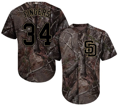 Men's Majestic San Diego Padres #34 Rollie Fingers Authentic Camo Realtree Collection Flex Base MLB Jersey