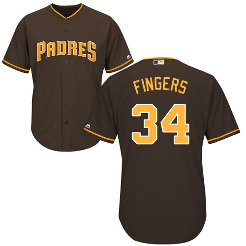 Men's Majestic San Diego Padres #34 Rollie Fingers Replica Brown Alternate Cool Base MLB Jersey