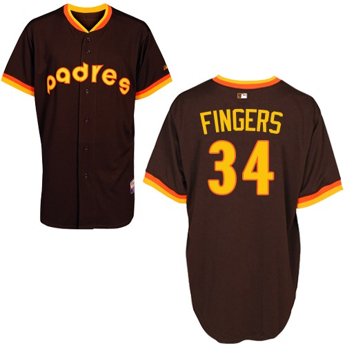 Men's Majestic San Diego Padres #34 Rollie Fingers Replica Coffee 1984 Turn Back The Clock MLB Jersey