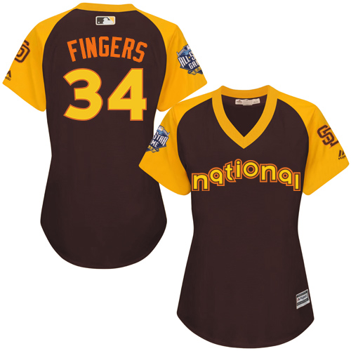 Women's Majestic San Diego Padres #34 Rollie Fingers Authentic Brown 2016 All-Star National League BP Cool Base Cool Base MLB Jersey