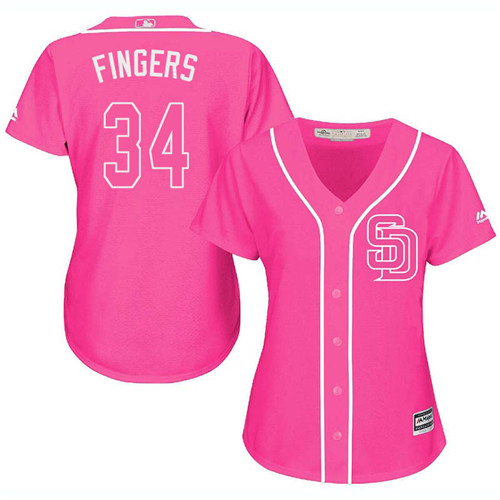 Women's Majestic San Diego Padres #34 Rollie Fingers Replica Pink Fashion Cool Base MLB Jersey