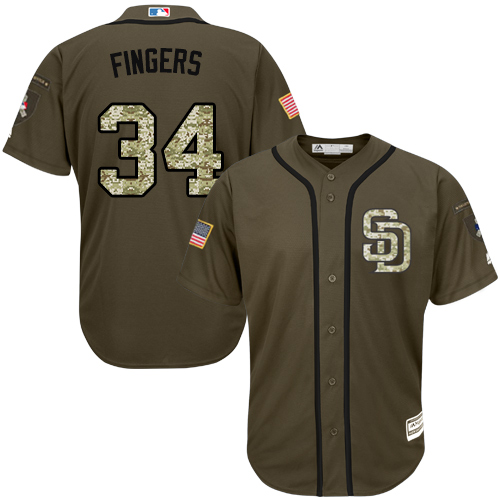 Youth Majestic San Diego Padres #34 Rollie Fingers Authentic Green Salute to Service Cool Base MLB Jersey