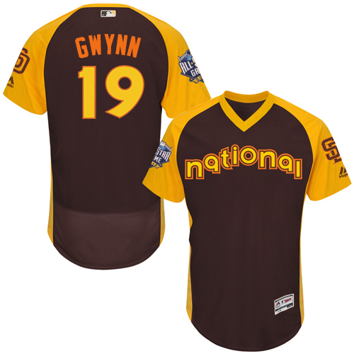 Men's Majestic San Diego Padres #19 Tony Gwynn Brown 2016 All-Star National League BP Authentic Collection Flex Base MLB Jersey