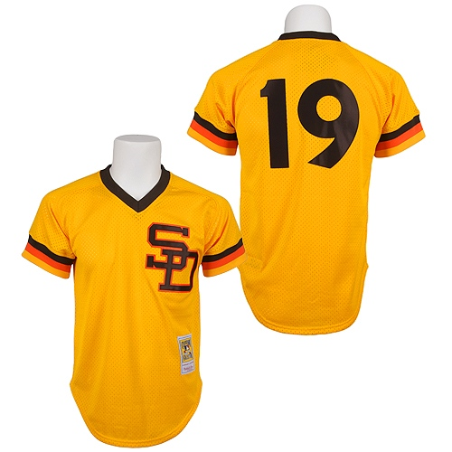 Men's Mitchell and Ness 1982 San Diego Padres #19 Tony Gwynn Replica Gold Throwback MLB Jersey