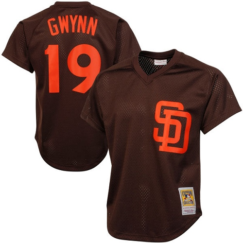 Men's Mitchell and Ness 1985 San Diego Padres #19 Tony Gwynn Replica Brown Throwback MLB Jersey