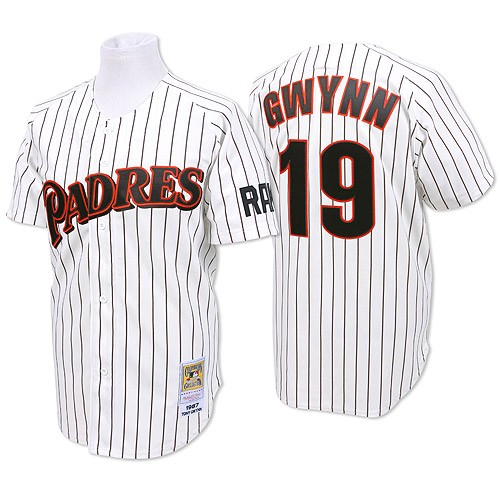 Men's Mitchell and Ness San Diego Padres #19 Tony Gwynn Replica White/Blue Strip Throwback MLB Jersey