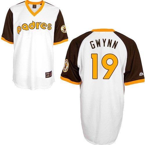 Men's Mitchell and Ness San Diego Padres #19 Tony Gwynn Replica White Throwback MLB Jersey