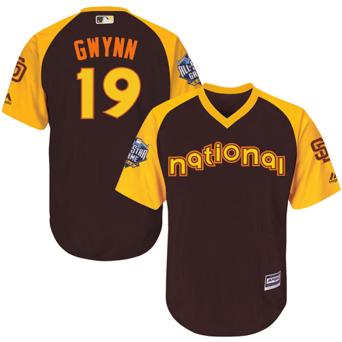 Youth Majestic San Diego Padres #19 Tony Gwynn Authentic Brown 2016 All-Star National League BP Cool Base Cool Base MLB Jersey