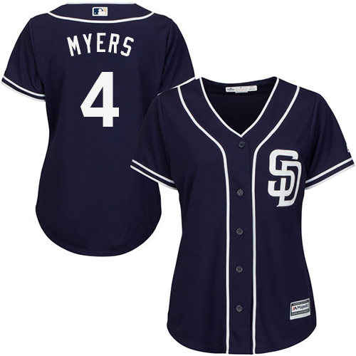 Women's Majestic San Diego Padres #4 Wil Myers Authentic Navy Blue Alternate 1 Cool Base MLB Jersey