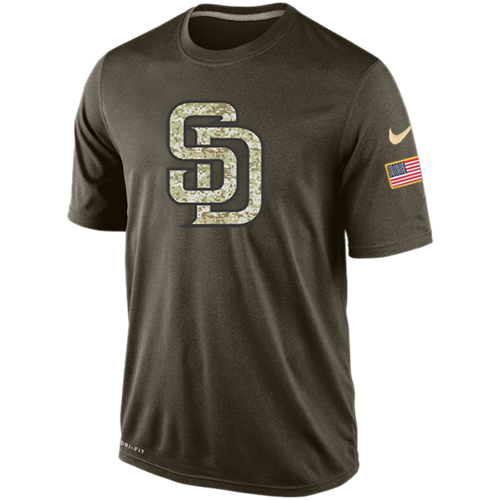 MLB Men's San Diego Padres Nike Dri-Fit Olive Salute To Service KO Performance T-Shirt