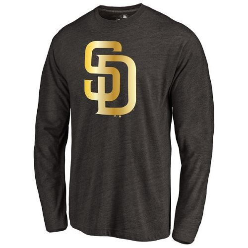 MLB San Diego Padres Gold Collection Long Sleeve Tri-Blend T-Shirt - Black