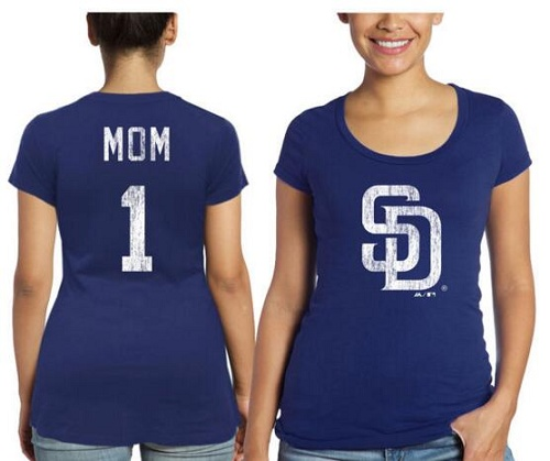 MLB San Diego Padres Majestic Threads Women's Mother's Day #1 Mom T-Shirt - Navy Blue