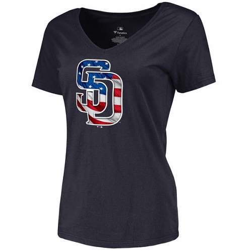 MLB Women's San Diego Padres Navy Banner Wave Slim Fit T-Shirt
